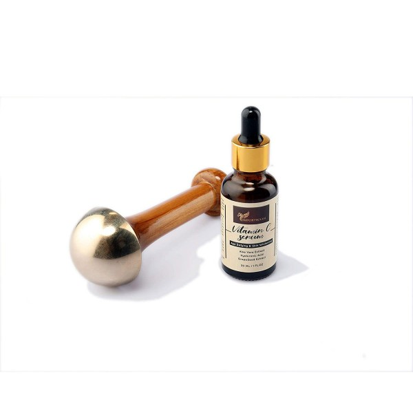 IMPORTIKAAH Kansa Wand Face Massager with Vitamin C Serum for Instant Relaxation and Deep Detoxification-5000 year old Ancient Indian Technique